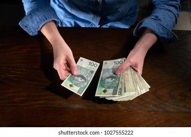 Counting cash. Polish zloty