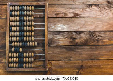 Counting device on a wooden background