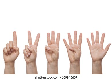 Counting Hands isolated over white background
