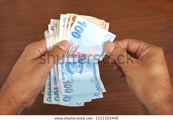 Counting money .Turkish banknotes. Turkish Lira - TRY   -   ( TL )