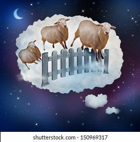 Counting sheep concept as a symbol of insomnia and lack of sleep due to challenges in falling asleep as a group of animals jumping over a fence in a dream bubble for bedtime in sleepy children.