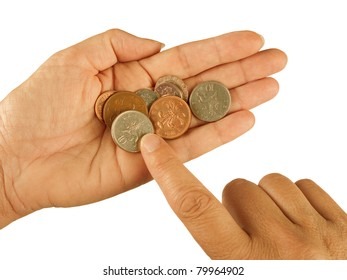 Counting small change aka coins - UK pounds sterling, poverty, hardship concept