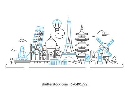 Countries - modern line travel illustration. India, Japan, France, Italy, Netherlands. See great landmarks like Eiffel tower, tower of Pisa, buddha monument, torii, windmill, Taj mahal