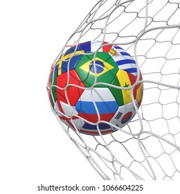 Countries national Portugal Morocco  flags soccer ball inside the net, in a net. Isolated on white background. 3D Rendering, Illustration.