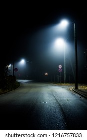 A country asphalt road at night, Latvia