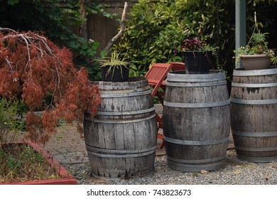 Country barrels with steel straps background