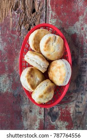 country biscuits in basket top view