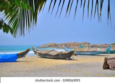Country boats kept at a local fishing village near Kovalam beach.
