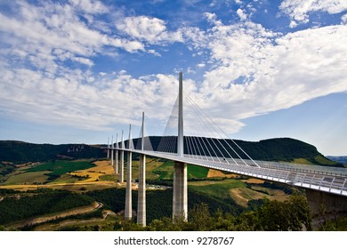 country bridge under beautiful sky (Millau Viaduct - France, highest bridge in the world)