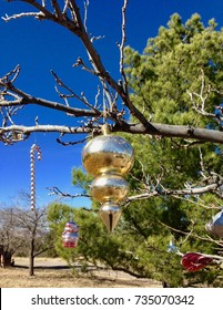 Country Christmas Ornament Tree Outside Vintage Antique Sky West Texas Desert
