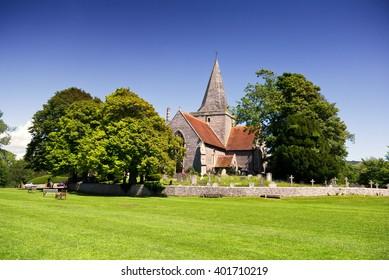 Country church; English village church in idyllic rural surroundings