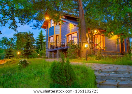 Astounding Country Cottage Evening Lighting Country House Stock Photo Interior Design Ideas Tzicisoteloinfo
