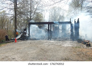 Country farm house garage after a structure fire