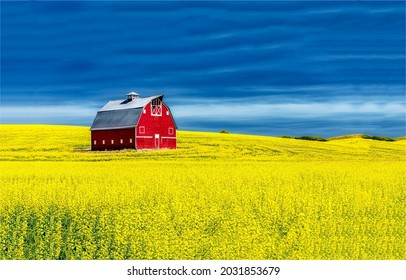 Country field with an old red barn. Old red barn in field. Red barn in field. Old red barn