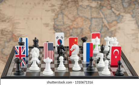 Country flag symbols on the chessboard with figures on the background of the political map of the world. Conceptual photo of a political game.