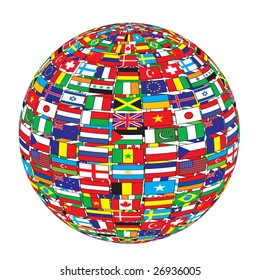 country flags on ball raster image of vector
