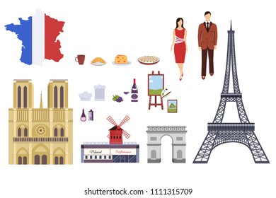 Country France travel vacation guide of goods, places and features. Set of architecture, fashion, people, items, nature background concept. Infographic template design for web and mobile on flat style