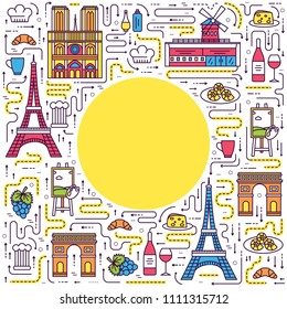 Country France travel vacation guide of goods, place and feature. Set of architecture, fashion, people, item, nature background concept. Infographic traditional ethnic flat, outline, thin line icon.