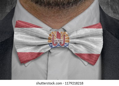 Country Frernch Polynesia Flag on bowtie business man suit