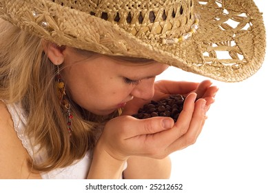 country girl with coffee beans on white