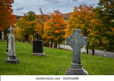 A country graveyard in autumn.