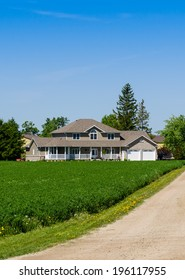Country home with a long driveway