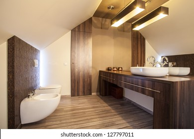 Country home - wooden countertop in a modern bathroom