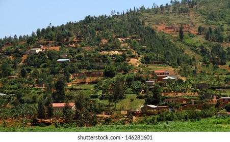 Country homes in Rwanda built into the hills