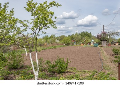 Country house with cultivated land surrounded by greenery in spring in Russia. Russian dacha.