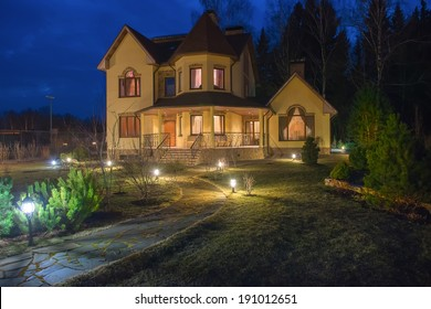 Country house (dacha) in spring night