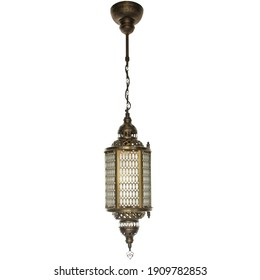 Country House Interior Architecture Lamp. Brass Turkish Lights. Grand Bazaar Hanging Ceiling Chandeliers. Isolated on White Background.