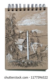 Country house. Rural landscape. Black and white pen drawing in sketchbook