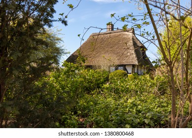 Country house with a thatched roof in Schleswig-Holstein, Germany
