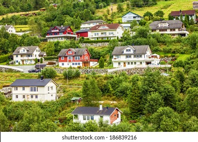Country houses in village Olden in Norway.