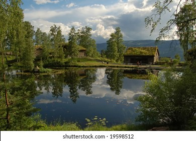 Country landscape, Maihaugen open-air museum, Lillehammer, Norway