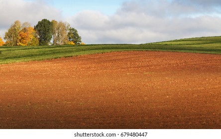 Country landscape with plowed field.