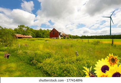 Country landscape. Wide angle summer farm with flowers, a puppy in the foreground looking at a butterfly, and a wind turbine in the distance.