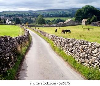 Country lane. Grassington, Yorkshire, UK.
