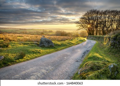 A country lane leading through Bodmin Moor in Cornwall