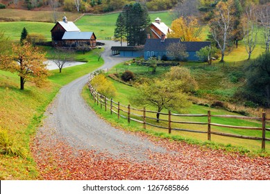 A country lane leads to a bucolic farm