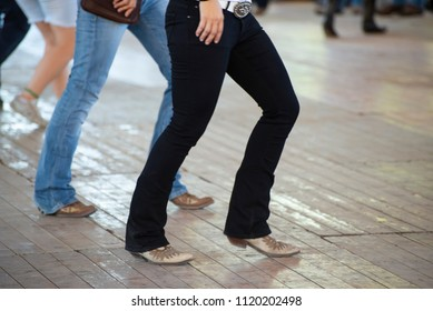 Country line dance and western boots