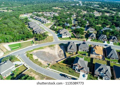 Country living , Georgetown , Texas Aerial drone view above suburb development with amazing view of Georgetown Lake and surround Texas Hill Country with homes and houses