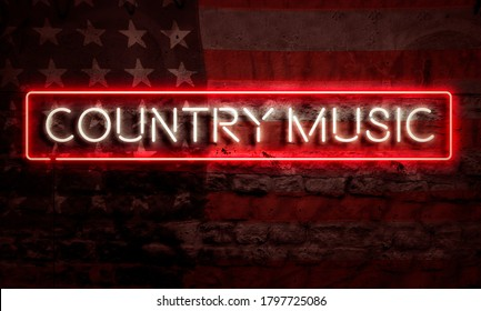 Country Music Pop Art Word Neon Sigh With American Flag Grunge Brick Graffiti Wall