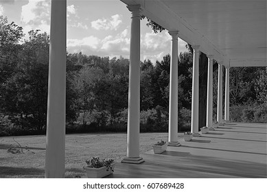 Country Porch in Black and White