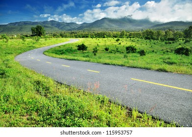 Country road  against blue sky background, Chiang mai , Thailand