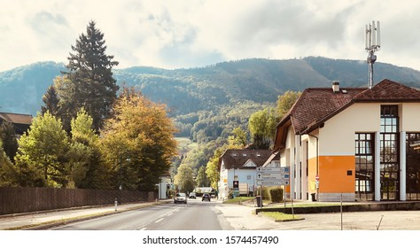 The country road background at Traunkirchen, a municipality on the Traunsee in the Austrian state of Upper Austria, Austria.
