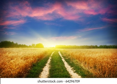Country road and beautiful sunset.
