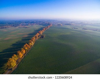 Country road with colorful maple trees through the hilly terrain during the autumn season, Mazury, Poland