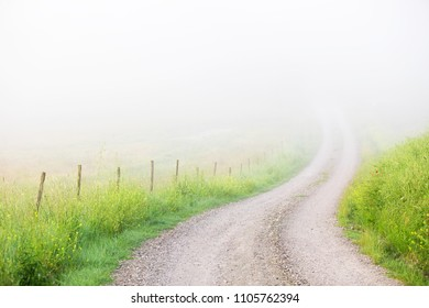 Country road disappearing in fog