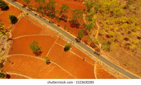 country road in dry land view from above. Aerial landscape. cross-regional highways are seen transversely and form diagonal lines. Dry land in Asia and Indonesia. Road infrastructure between regions